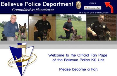 Bellevue Police K9 Unit Custom Facebook Landing Page