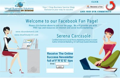 Serena Carcasole Custom Facebook Welcome Page