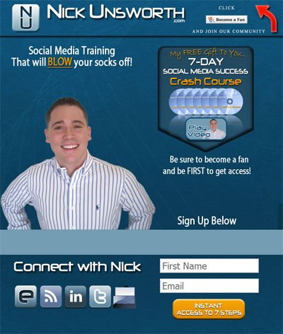 Nick Unsworth Custom Facebook Fan Page Welcome Landing Page