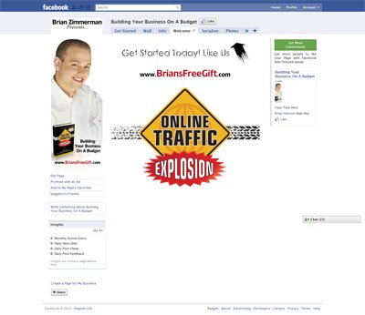 Business on a Budget Custom Facebook Fan Page Welcome Landing Page