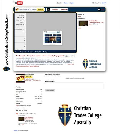 Christian Trades College Australia Custom YouTube Background