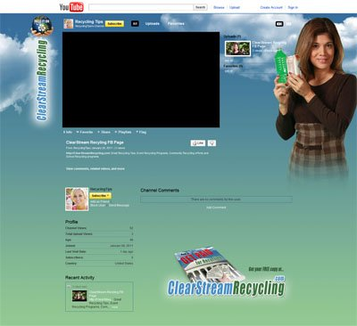 RecyclingTips Clear Stream Recycling Custom YouTube Channel Skin