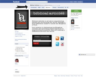 BiblicalArticles Custom Facebook Fan Page Welcome Landing Page