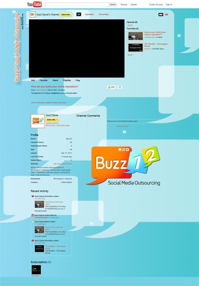 Buzz12 Social Media Outsourcing Custom YouTube Background Skin