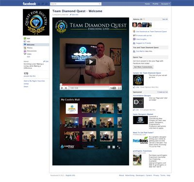 Team Diamond Quest Facebook iFrames application with like-gating fangate reveal fan page community