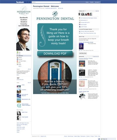 Pennington Dental Custom Facebook iFrames Application with Like Gate Reveal