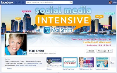 Mari Smith Facebook Fan Page Custom Facebook Timeline Cover Image designed by CustomTwit.com