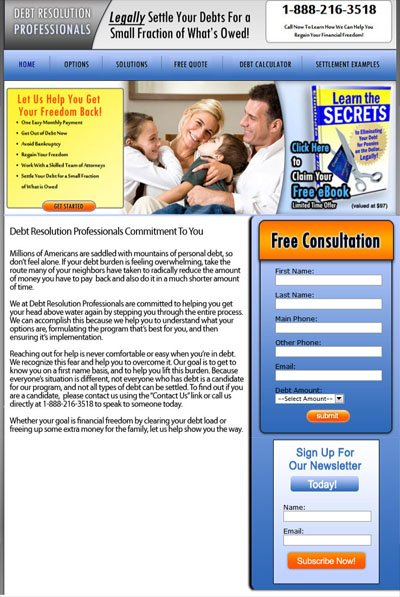 Debt Resolution Professionals Custom Facebook Fan Page Welcome Landing Page
