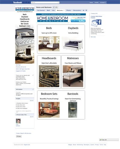 home and bedroom com custom facebook fan page welcome landing page community with