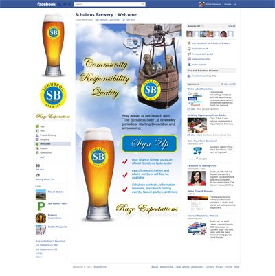 Schubros Brewery Custom Facebook iFrame Application welcome landig page
