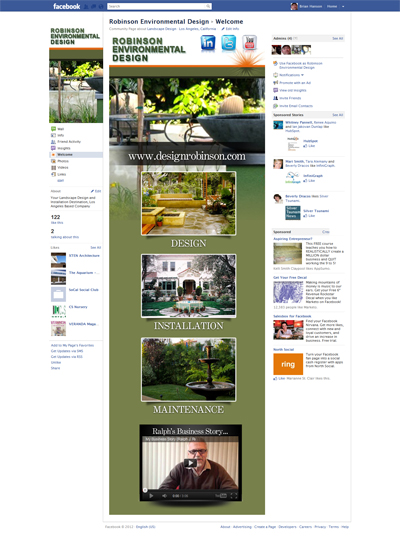 Robinson Environmental Design Custom Facebook iFrame Application Welcome Landing Page Designed by CustomTwit.com