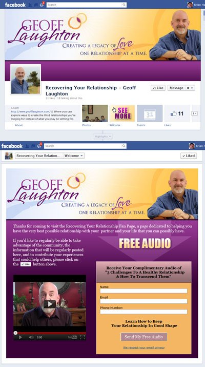 Recovering Your Relationship - Geoff Laughton Custom Facebook Timeline Cover Image, Profile Picture, App View & Welcome iFrame Application for Facebook Business Page