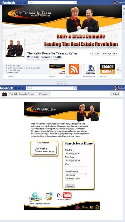 The Kelly Domaille Team Custom Facebook Timeline Cover Image, App View Image and Welcome iFrame Landing Tab for Business Pages