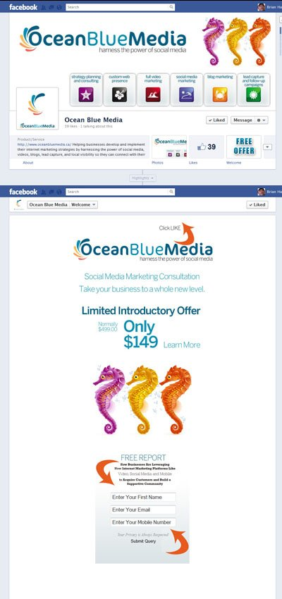 Ocean Blue Media Custom Facebook Timeline Cover & Welcome App with View for Business Pages