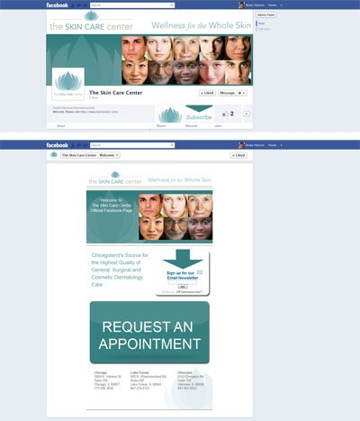 The Skin Care Center Custom Facebook Business Page Timeline Cover Image and Welcome Landing Applicaiton with App View designed by CustomTwit.com