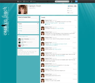 @carolynfinch Custom Twitter Background, Social Media Branding designed by CustomTwit.com