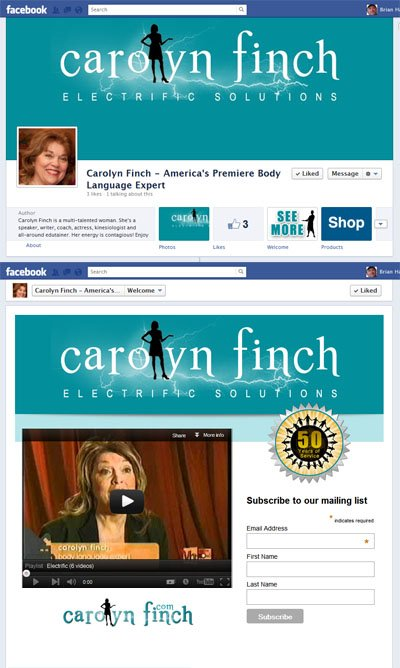 Carolyn Finch Custom Facebook Timeline Cover Image, Welcome iFrame App and App View Image designed by CustomTwit.com