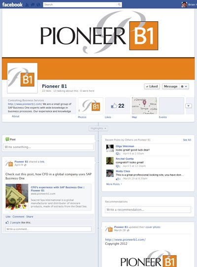 Pioneer B1 Custom Facebook Timeline Cover Image designed by CustomTwit.com