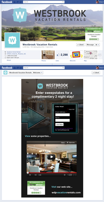 Westbrook Vacation Rentals Facebook Timeline Cover Image, App View Image & Welcome Landing iFrame Application for Facebook Business Page Branding