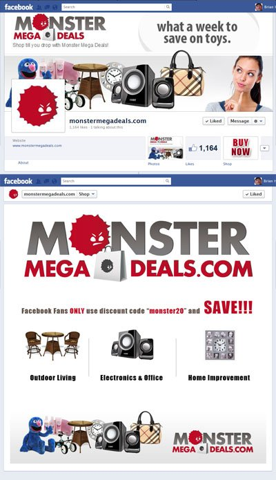 MonsterMegaDeals.com Custom Facebook Timeline Cover Image, App & App View designed by www.CustomTwit.com