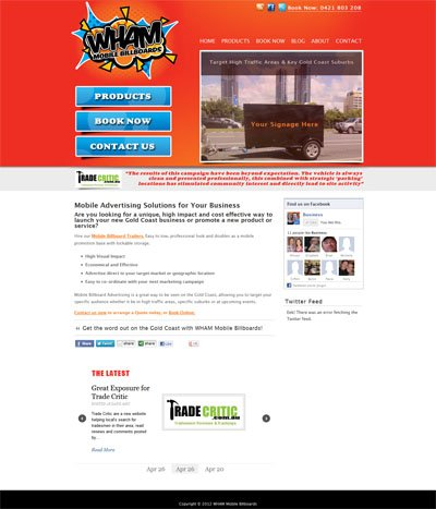 Wham Mobile Billboards Custom Wordpress Site and Blog designed by CustomTwit.com