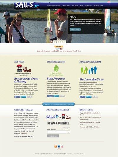 Sails.org.au Custom Wordpress site and blog designed by CustomTwit.com