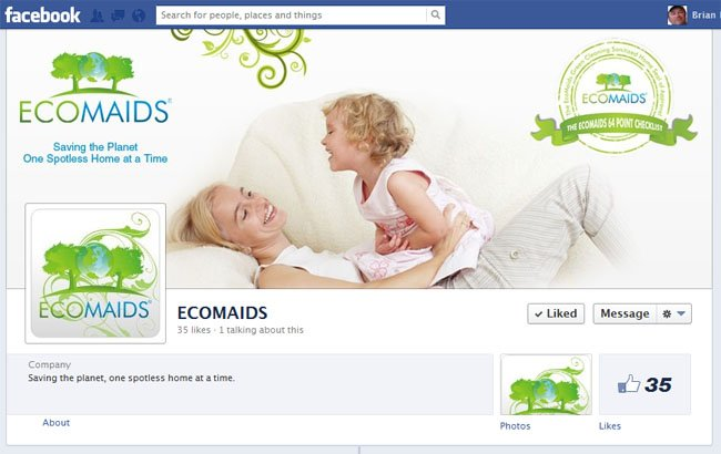 EcoMaids custom Facebook Timline Cover Image and Facebook Avatar designed by www.CustomTwit.com