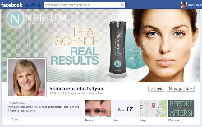 Nerium International Skin Care Products custom Facebook Timeline Cover Image & Avatar as presented by SkinCareProducts4U designed by www.CustomTwit.com