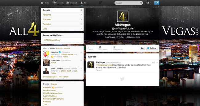 @All4Vegasdotcom Custom Twitter Background Skin, Twitter Header and Avatar