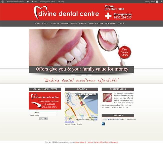 Divine Dental Centre custom Wordpress site and blog social media branding provided by www.CustomTwit.com