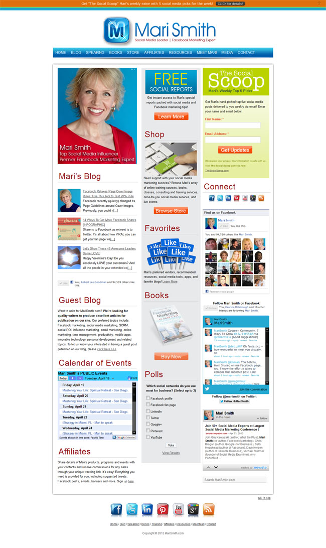 Mari Smith 2013 Custom Wordpress Site and Blog with a stunning social media presence and magazine style layout designed by www.CustomTwit.com