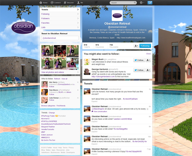 Obsidian Retreat Custom Twitter Background Skin, Twitter Header and Avatar designed by www.CustomTwit.com