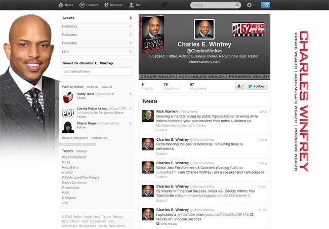 @charleswinfrey Custom Twitter Background with Twitter Header and Avatar designed by www.customtwit.com