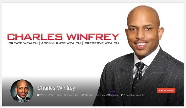 Charles Winfrey custom Google Plus Profile Package including New Profile Image & Avatar
