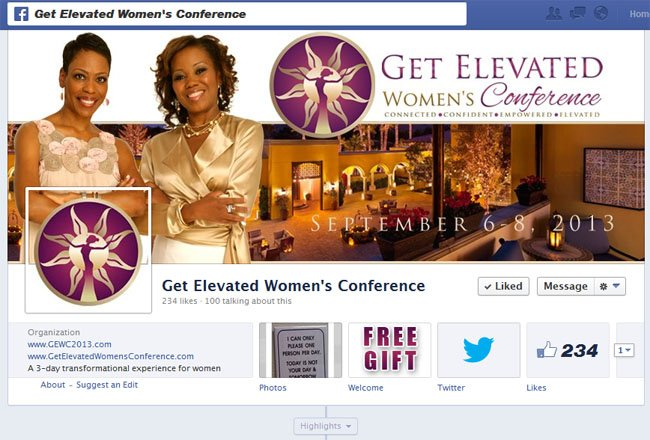 Get Elevated Women's Conference Facebook Timeline Cover Image & Free Giveaway App for Consistent Social Media Branding provided by www.CustomTwit.com