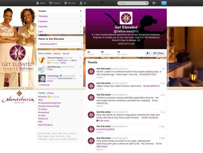 @getelevated2013 Custom Twitter Background Skin - Seamless Social Media Branding provide by www.CustomTwit.com