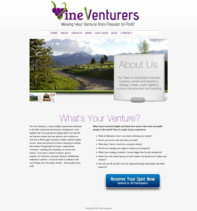 Vine Venturers Custom Wordpress Site & Blog designed by www.CustomTwit.com