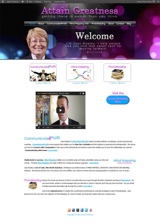 Attain Greatness Custom Wordpress Site & Blog with Joan Bowley designed by www.CustomTwit.com