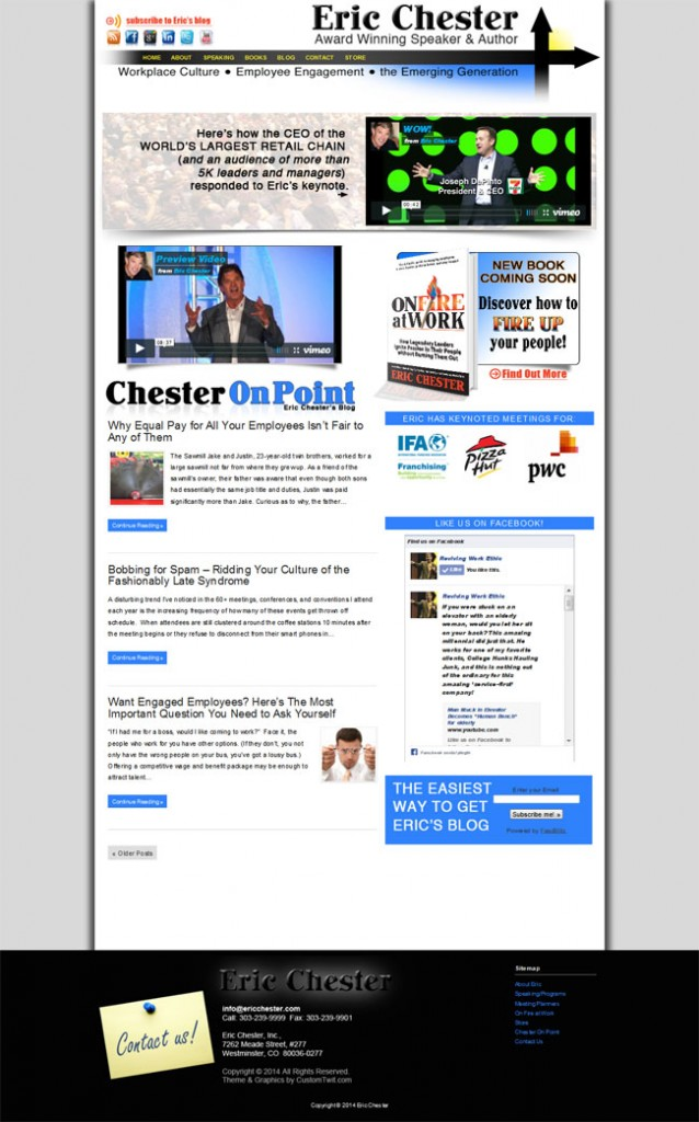 Award winning speaker and Author Eric Chester Custom Wordpress Site Design & Blog