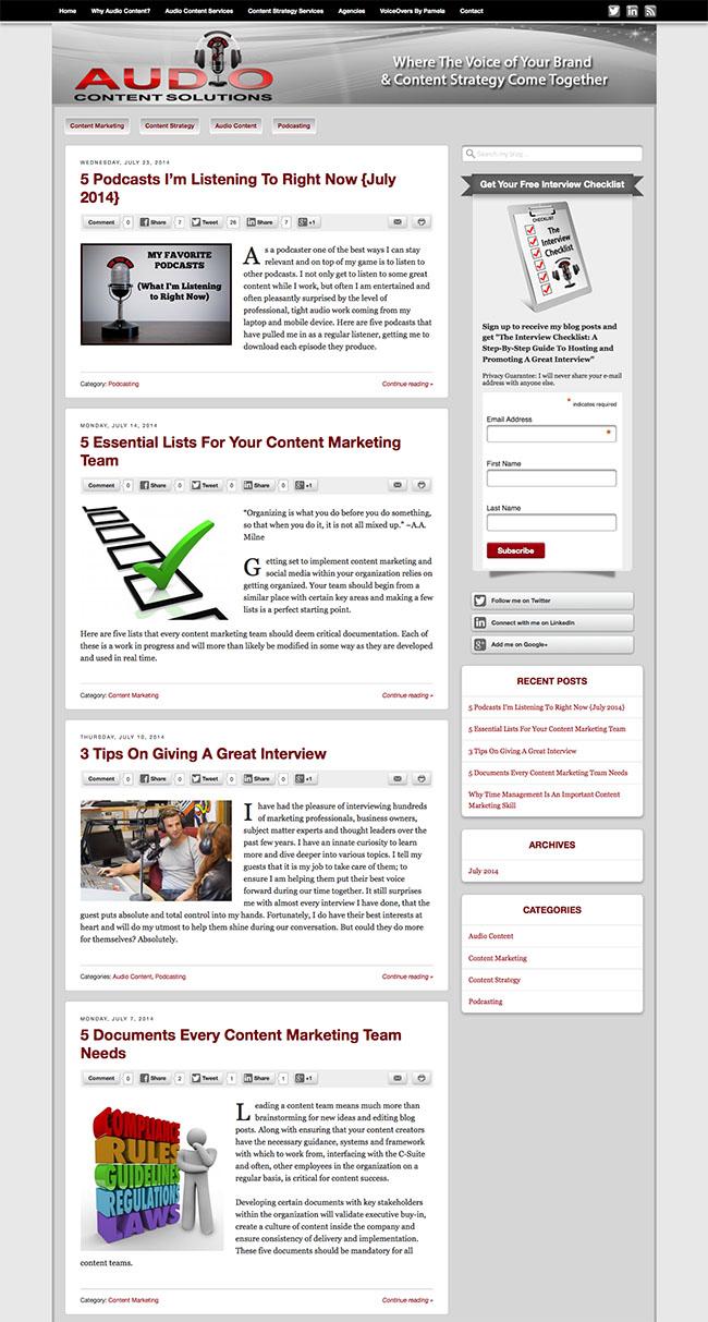 Custom Wordpress Blog Design for Audio Content Solutions with Pamela Muldoon