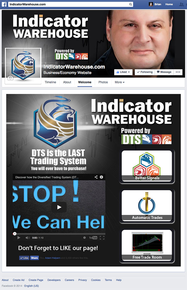 Indicator Warehouse with Adam Halpern Custom Facebook Timeline Cover, Avatar & iFrame Application