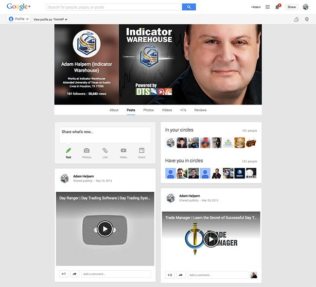 Social Media Branding - Indicator Warehouse Custom Google Plus Profile Design