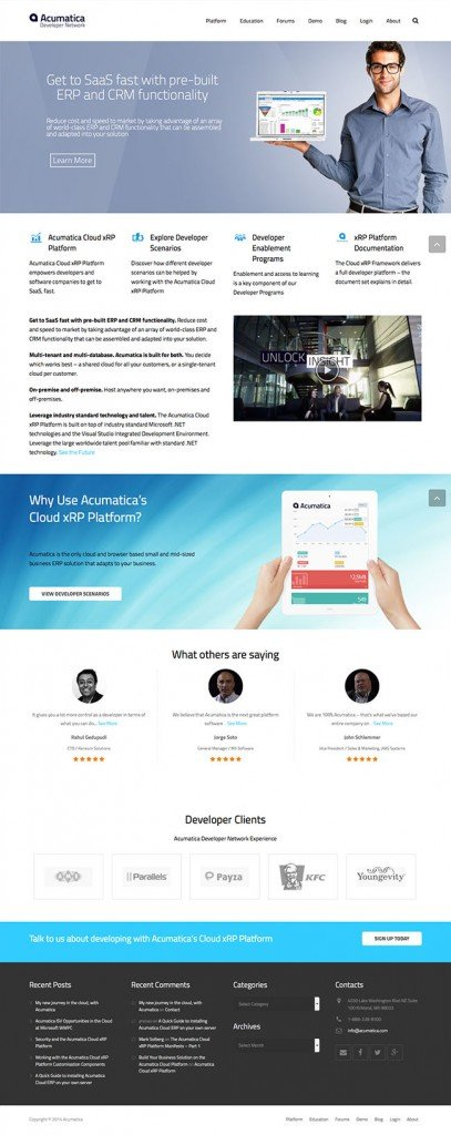 Acumatica Cloud ERP Developers Site and Blog using the Impreza Responsive Wordpress Theme