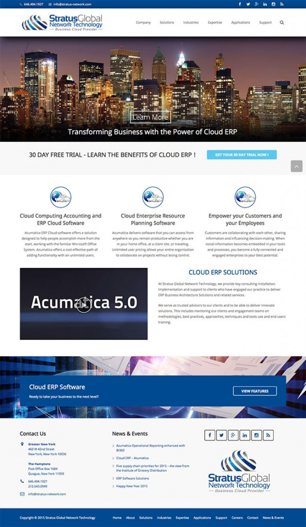 Stratus Global Network Technology custom Wordpress site and blog. Web design including graphic design and responsive theme.