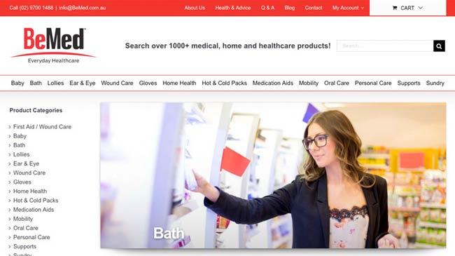 BeMed Everyday Healthcare WordPress Design with eCommerce platform.